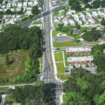 Aerial photo looking west on 44th Ave. E. from 9th St. E.