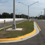 Newly paved asphalt, sidewalks, and media along 44th Avenue East