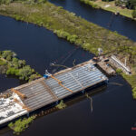Bridge construction over the main channel of the Braden River
