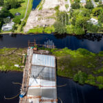 Bridge construction advancing over Gap Creek