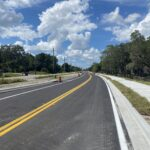Newly paved roadway near 44th Avenue Plaza East